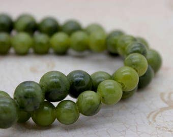 "New Jade Smooth Round Gemstone 8mm 10mm Beads (8"" strand - 2.5 mm hole)"