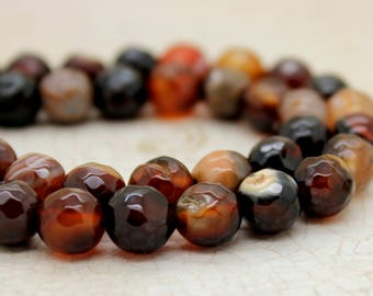 Agate Faceted Round Gemstone Beads (8mm)