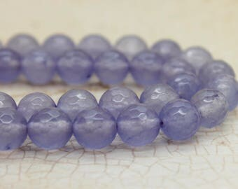 Dye Agate Frosted Transparent Lavender Faceted Round Gemstone Beads (8mm)