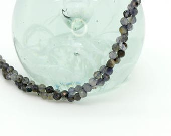 Natural Iolite Faceted Round Sphere Ball Loose Gemstone Bead Beads 2mm 3mm 4mm Full Strand
