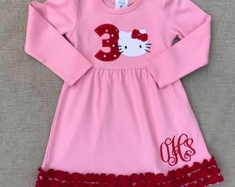 Hello Kitty Birthday Dress, Hello Kitty Dress, Hello Kitty Dress with monogram