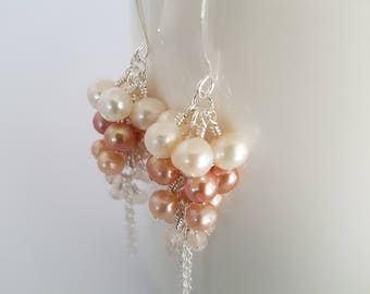 Long pearls and quartz earrings, dangle, wire wrapped, silver plate. Gift for her.