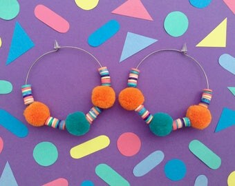 Pom Pom Earrings,Festival Fashion,Turquoise,Orange,Pompom Earrings,Hoop Earrings,Tropical Earrings,Stainless Steel,Colourful Jewellery