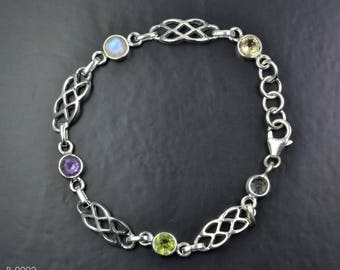 Celtic Design Sterling Silver Bracelet with Celtic Knot