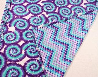 Purple and Blue Tie Dye Fleece Blanket