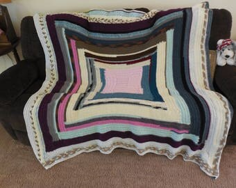Colourful blanket with Pink Center  Blanket,  throw very soft