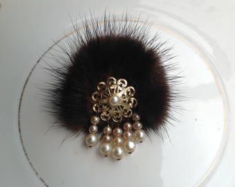 Vintage fur and pearl brooch 1950s