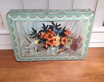 Vintage Floral tin Edward Sharp and sons 1960s