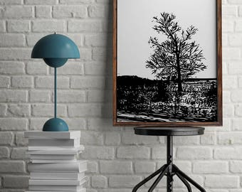 Tree Wall Art- Black and White Tree Print- Tree Art- Home Office Decor- Digital Art Print- Vector Art- Vector Graphics