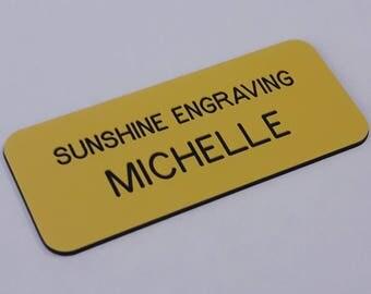 "Custom Engraved Name Tags 1.5"" x 3.5"", Engraved Name Badge, Engraved Name Tag, Personalized Name Tags, Name Badges, Employee Name Badge"