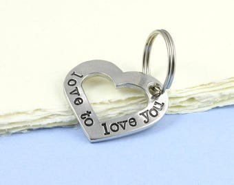 Cut Out Heart Keyring in Pewter with the message Love to Love you hand stamped around it makes a great gift of love