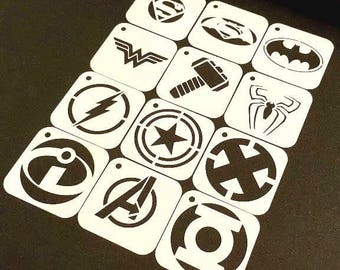 Set of 12pcs SUPERHERO Stencils Batman Superman Spiderman Wonder Woman Thor Flash Captain America X Man Incredibles Avengers Green Lantern