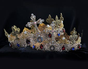 Wedding crown etsy couple crowns wedding crowns bride and groom crowns orthodox wedding crowns church junglespirit Images