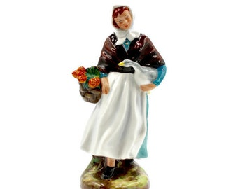 "Royal Doulton Country Lass Bone China Figurine - HN1991 - 7.25"" Tall - Rustic Country/French Country/Vintage Decor - Doulton Collectible"
