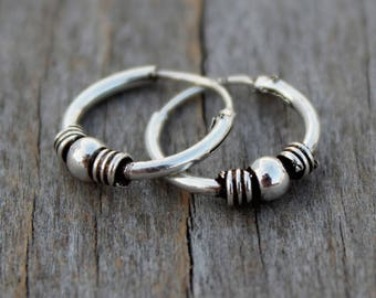 Tiny hoops sterling silver, Small Tribal earring Tiny silver hoop creole Tiny hoop earrings Small hoops men hoop earrings bali hoops ethnic