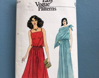 Vogue 7107 very easy retro vintage 1980 wedding disco prom evening midi maxi dress & shawl sewing pattern Size 10 bust 83 cm