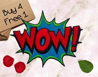 Wow Applique Iron On Embroidered Patches