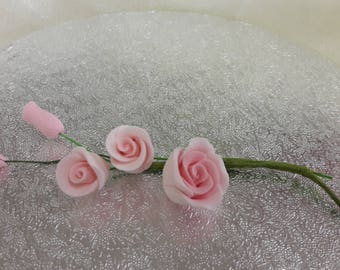 "3"" Pink Rose Spray Birthday/Wedding Cake Topper Decoration"