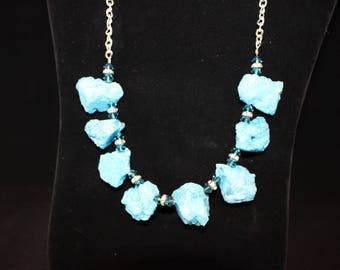 dyed blue agate druzy necklace