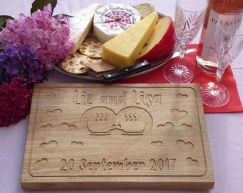 Oak board personalised, chopping, solid oak