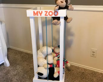 My zoo stuffed animal storage- toy storage- bungee- personalized- wood- kids decor- kids room