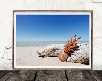 Pineapple Print, Beach Print, Summer Print, Digital Wall Art, Ocean Print, Golden Pineapple