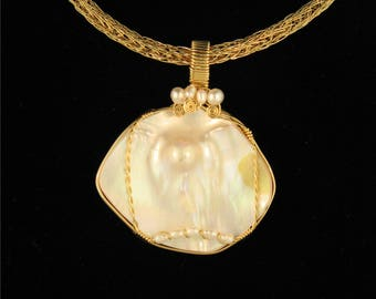 Dome Pearl: Wire Wrapped in 14K Gold Filled Wire with accent pearls