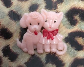 Cute kitsch kawaii puppy and kitten brooch pin