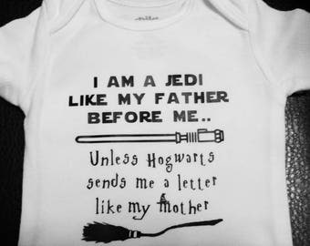 Star Wars and Harry Potter Inspired Onesie Child or Adult Shirt Jedi like my Father or Hogwarts like my Mother