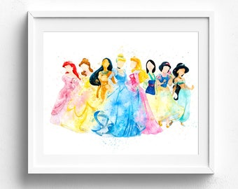 Merveilleux Disney Princess Watercolor Art, Princess Printable, Bedroom Decor, Disney  Wall Art, Baby