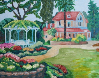 Gardenscape Oil painted home House in blossoming garden Home garden arbour in flowers Painting Gift for parents Present for children