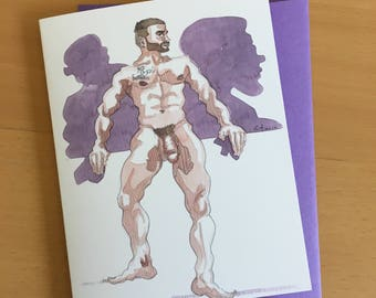 Purple Papi Blank Greeting Card with Envelope