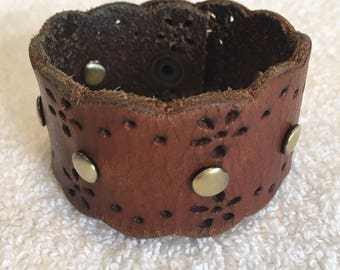 Leather Cuff Bracelet with Brass Snap Rivets