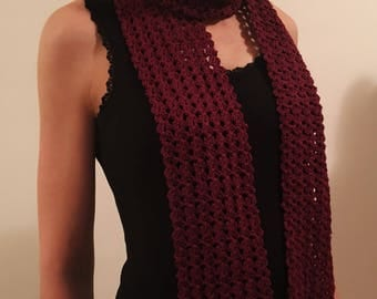 Crochet Summer Scarf, Spring Scarf, Summer Neck Wrap, Maroon Summer Scarf, 100% cotton scarf, Handmade neck wear, Small maroon scarf