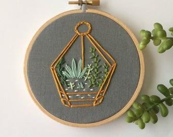 terrarium embroidery tiny