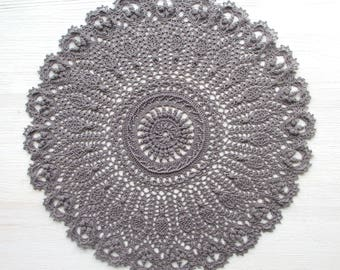 Gray Crochet Cotton Doily 42 cm/16.5 in