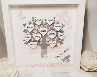 Handmade, personalised family tree, anniversary, present, wedding, Mothes day