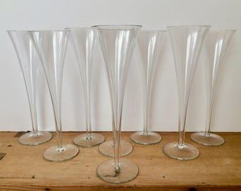 Vintage Hollow Stem Flutes Crystal Trumpet Champagne Set of 8 Excellent