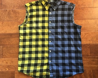 Blue and Yellow Flannel Cutofff