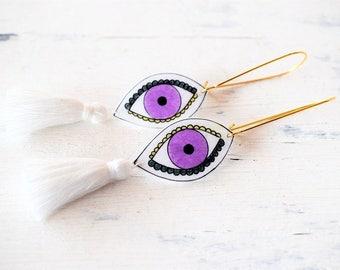 small illustrated Evil Eye Earrings ,Shrink Plastic