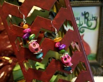 Earrings -- Bright & Beady Pink Skull Dangle Earrings