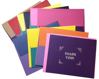 Thank You Card Set in Silvery Type