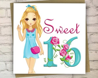 Sweet 16 Birthday Card, Birthday Card For Girl, 16th Birthday Card, Greeting Card For Girl, Pretty Card, Free UK Shipping