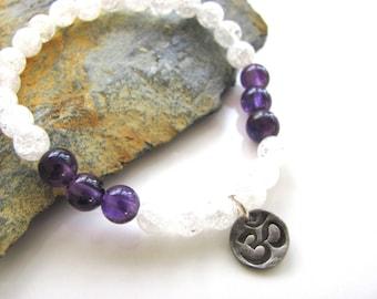 Stretch Gemstone Bracelet - Snowflake Crystal Quartz and Amethyst with fine silver OM charm - Yoga Jewelry, Meditation, Healing
