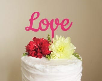 Pink Love Cake Topper For Wedding, Anniversary, Valentines Laser Cut Acrylic