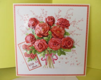 Card 3D Bouquet of Roses