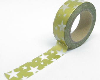 Washi Tape metallic stars in various sizes 10Mx15mm gold matte and white