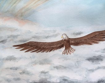 Eagle Flying Towards the Sun Above the Cloud - Original Watercolor Painting