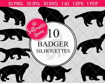 Badger Silhouettes Clipart Clip Art (AI, EPS, SVGs, JPGs, PNGs, PDF) , Badger Branch Clip Art Clipart Vectors - Commercial and Personal Use