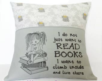 Girl Booksitter Reading Pocket Pillowcase with Koala Fabric - Reading Pillow, Pocket Pillow, Babyshower Gift, Birthday Gift, Inspire Reading